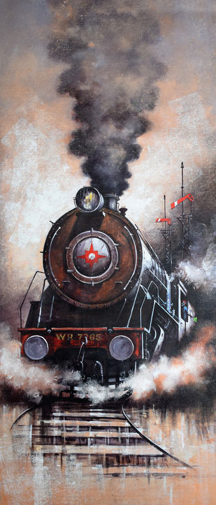 Nostalgia of Indian Steam Locomotives 36 by Kishore Pratim Biswas, Realism Painting, Acrylic on Canvas, Brown color