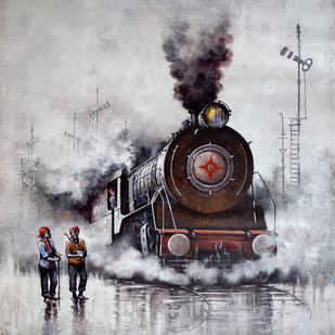 Nostalgia of Indian Steam Locomotives 26 by Kishore Pratim Biswas, Impressionism Painting, Acrylic on Canvas, Gray color