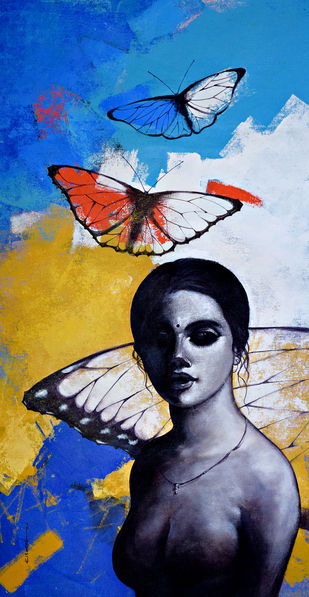 She_03 by Kishore Pratim Biswas, Realism Painting, Acrylic on Canvas, Brown color