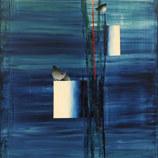 Time and Space-Cage by Ravi Gossain, Conceptual Painting, Oil on Canvas, Blue color