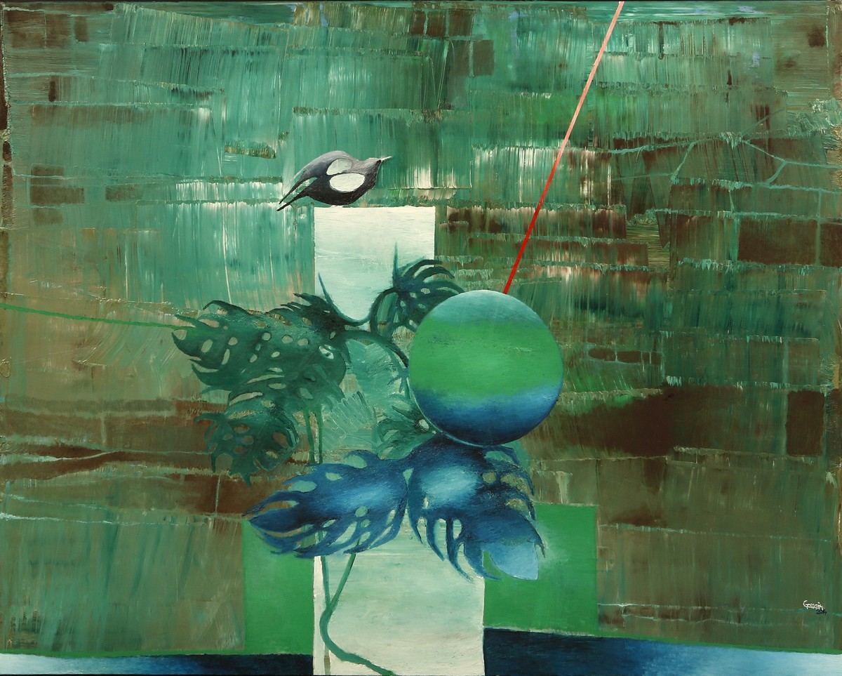 Time and Space- Cage by Ravi Gossain, Conceptual Painting, Oil on Canvas, Green color