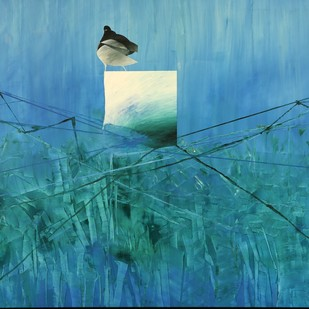 Time and Space- Cage by Ravi Gossain, Conceptual Painting, Oil on Canvas, Cyan color