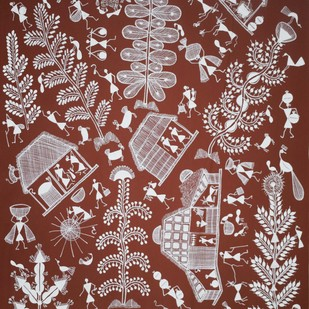 Warli Art by Unknown Artist, Traditional Painting, Acrylic on Canvas, Brown color