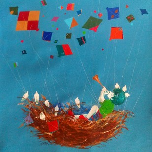 Treasure of the childhood ix by shiv kumar soni, Fantasy Painting, Acrylic on Canvas, Blue color
