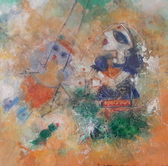 Swinging Krishna by Archana Sharma, Expressionism Painting, Acrylic & Graphite on Canvas, Brown color