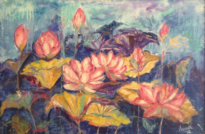 Lotus by Soma Vajpayee, Impressionism Painting, Oil on Canvas, Brown color