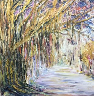 Banyan by Soma Vajpayee, Impressionism Painting, Oil on Canvas, Beige color