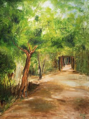 Pathway by Soma Vajpayee, Impressionism Painting, Oil on Canvas, Green color