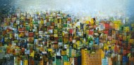 Colorfully City by M Singh, Geometrical Painting, Acrylic on Canvas, Green color