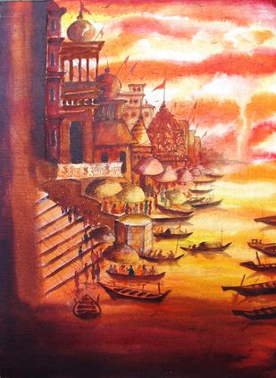 Vibrant Ghats of BANARAS - 4 by Anirban Seth, Impressionism Painting, Acrylic on Canvas, Brown color