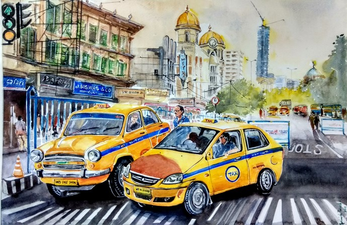 Calcutta Nostalgia by Avanish Trivedi, Impressionism Painting, Watercolor on Paper, Beige color