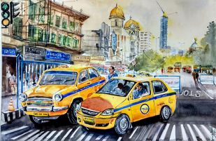 Calcutta Nostalgia by Avanish Trivedi, Impressionism Painting, Watercolor on Paper, Beige color