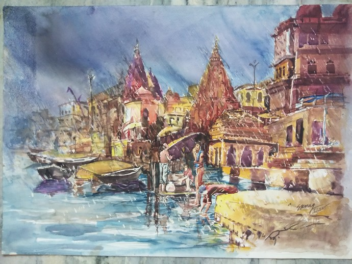 Varanasi Ghat by S K Nag , Impressionism Painting, Watercolor on Paper, Brown color