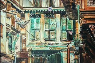 Watan by Avanish Trivedi, Impressionism Painting, Watercolor on Paper, Beige color