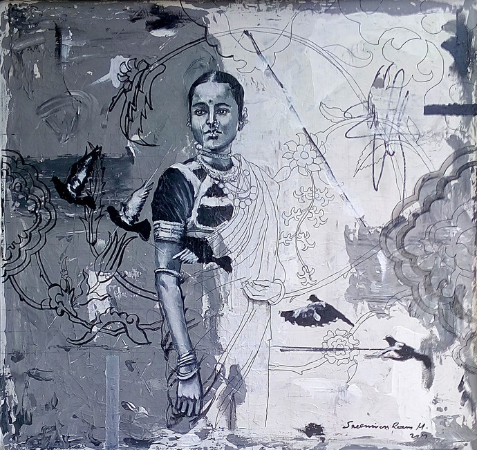 untitled by Sreenivasa Ram Makineedi, Expressionism Painting, Mixed Media on Canvas, Green color