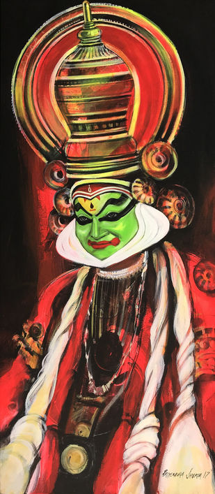 Kathakali by Priyendra Shukla, Expressionism Painting, Acrylic on Canvas, Brown color