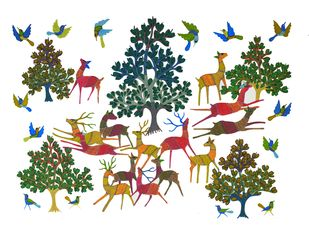 Gond art by Unknown Artist, Folk Painting, Acrylic on Canvas, Beige color
