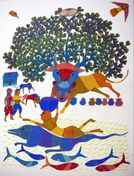 Gond art by Unknown Artist, Folk Painting, Acrylic on Canvas, Gray color