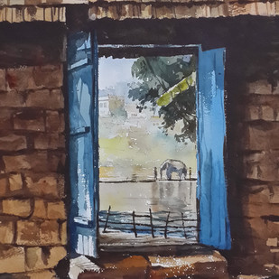Riverside View by Mopasang Valath, Impressionism Painting, Watercolor on Paper, Brown color