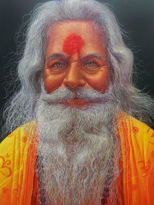 SADHU-3 by Anil Kumar Yadav, Realism Painting, Acrylic on Canvas, Brown color