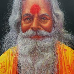 SADHU-3 by Anil Kumar Yadav, Realism Painting, Acrylic on Canvas, Brown color