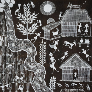 Warli Art by Unknown Artist, Folk Painting, Cow dung on Cloth,
