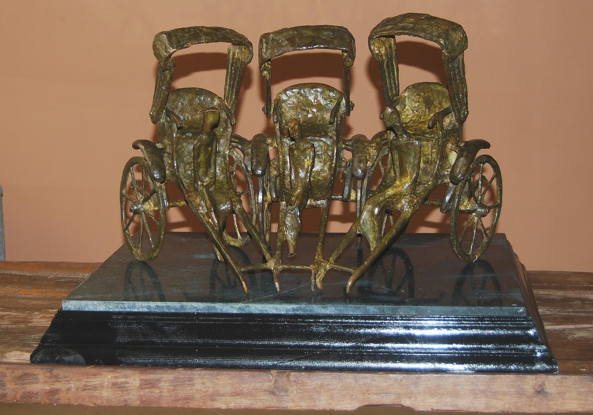 Rickshaw by Tushar Kanti Das Roy, Art Deco Sculpture | 3D, Bronze, Brown color
