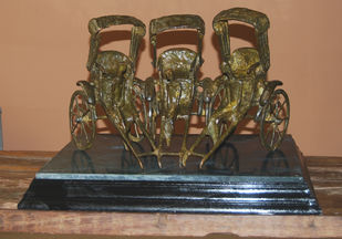 Rickshaw by Tushar Kanti Das Roy, Art Deco Sculpture | 3D, Bronze, Brown color