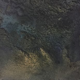 Night ocean - 2 by Vernika, Abstract Painting, Mixed Media on Canvas, Gray color