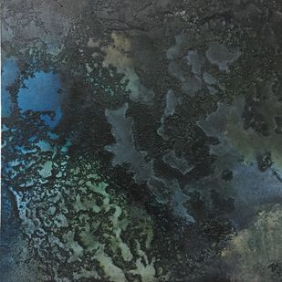 Night ocean - 3 by Vernika , Abstract Painting, Mixed Media on Canvas, Gray color