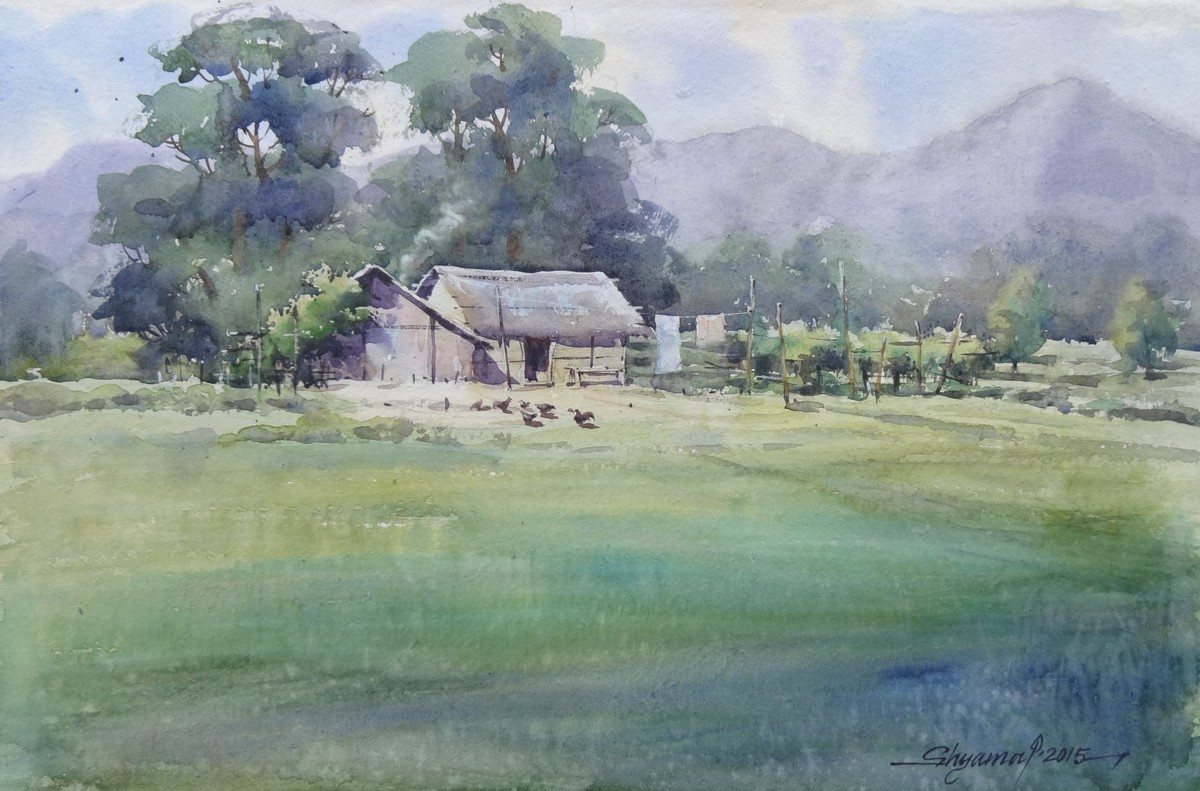Pani-kheti by Shyamal Karmokar, Impressionism Painting, Watercolor on Paper, Green color