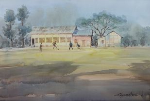Afternoon play by Shyamal Karmokar, Impressionism Painting, Watercolor on Paper, Gray color