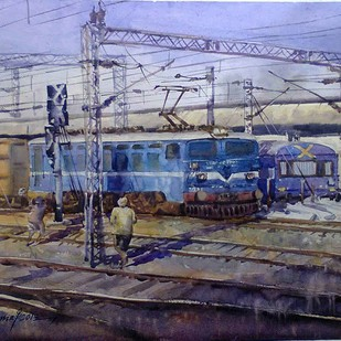 Maalgari by Shyamal Karmokar, Impressionism Painting, Watercolor on Paper, Blue color