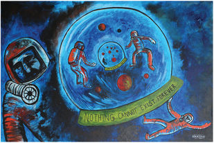 Space Odyssey: Deception of time-space bubble by Jince Thevarmadam, Expressionism Painting, Acrylic on Canvas, Blue color