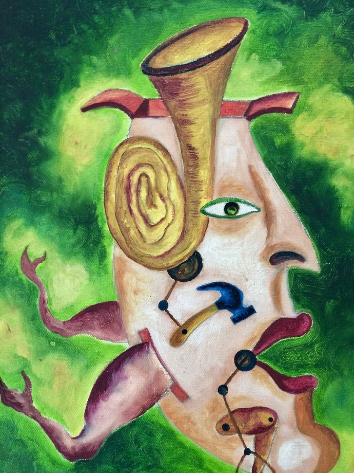 The Deaf-Mute Life by Jince Thevarmadam, Fantasy Painting, Oil on Canvas, Green color