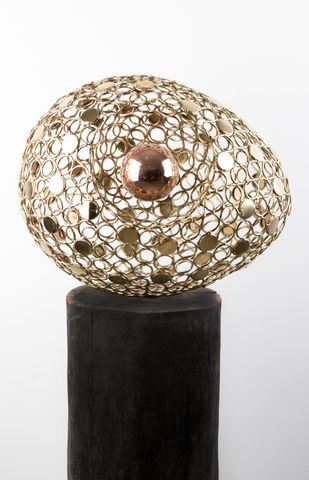 Golden Biosphere by Romicon Revola , Art Deco Sculpture | 3D, Metal, Gray color