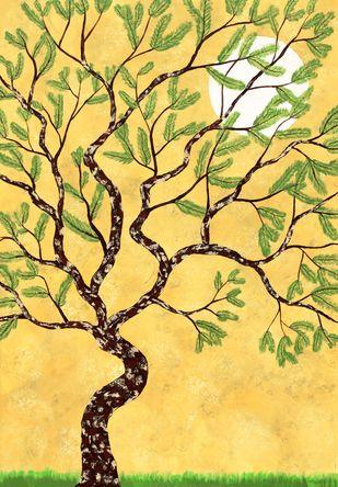Chitvarya by Sumit Mehndiratta, Impressionism Painting, Acrylic on Canvas, Beige color