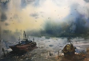 Ocean 01 by Prashant Sarkar, Impressionism Painting, Watercolor on Paper, Gray color