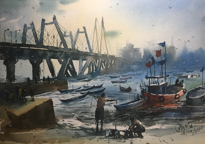 Ocean 02 by Prashant Sarkar, Impressionism Painting, Watercolor on Paper, Gray color