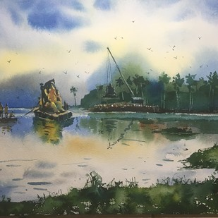 Ganpati Visarjan at Powai Lake 01 by Prashant Sarkar, Impressionism Painting, Watercolor on Paper, Green color