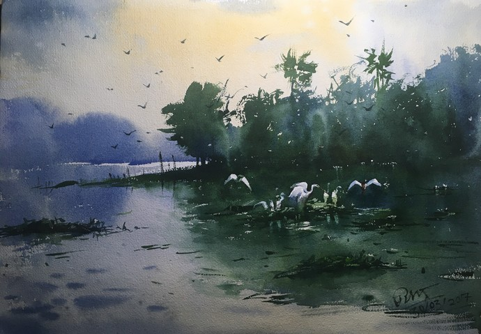 Watercolor Painting At Powai Lake 02 By Artist Prashant