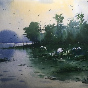Watercolor Painting at Powai Lake 02 by Prashant Sarkar, Impressionism Painting, Watercolor on Paper, Green color