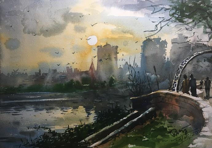 watercolor painting at powai lake 03 by artist prashant sarkar
