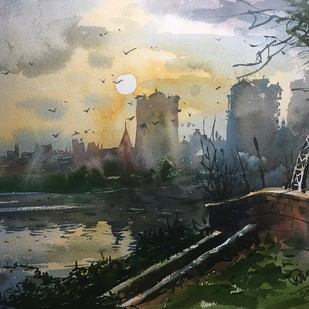 Watercolor Painting at Powai Lake 03 by Prashant Sarkar, Impressionism Painting, Watercolor on Paper, Gray color