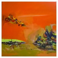 Sunrise by Dnyaneshwar Dhavale , Abstract Painting, Acrylic on Canvas, Orange color