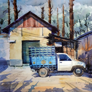 tatamobile by Shyamal Karmokar, Impressionism Painting, Watercolor on Paper, Blue color