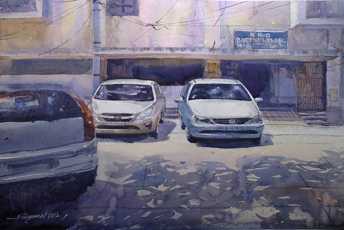 Dream car by Shyamal Karmokar, Impressionism Painting, Watercolor on Paper, Blue color