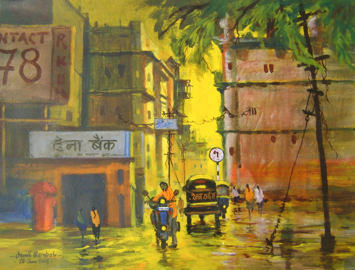 street 9 by Sunil Bambal, Impressionism Painting, Acrylic on Paper, Brown color