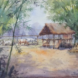 Bansbon by Shyamal Karmokar, Impressionism Painting, Watercolor on Paper, Brown color