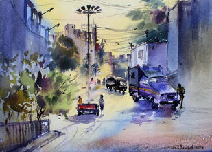 Morning by Sunil Bambal, Impressionism Painting, Watercolor on Paper, Blue color